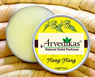 Arvedikas Natural Solid Perfume Beeswax / / Organic Vegan Travel Perfume/Women Aromatic Scent/Pocket Size Compact Cologne/Scented Balm/Gift for Her/Parfum / 10gm (29 Varieties) (Ylang-Ylang)