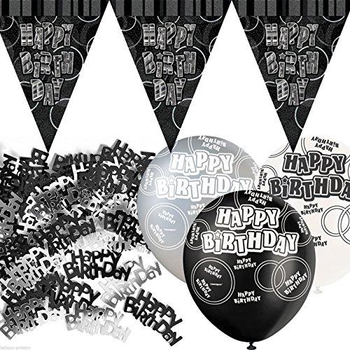 Kit de décoration de fête Noir et Argent avec bannière avec fanions