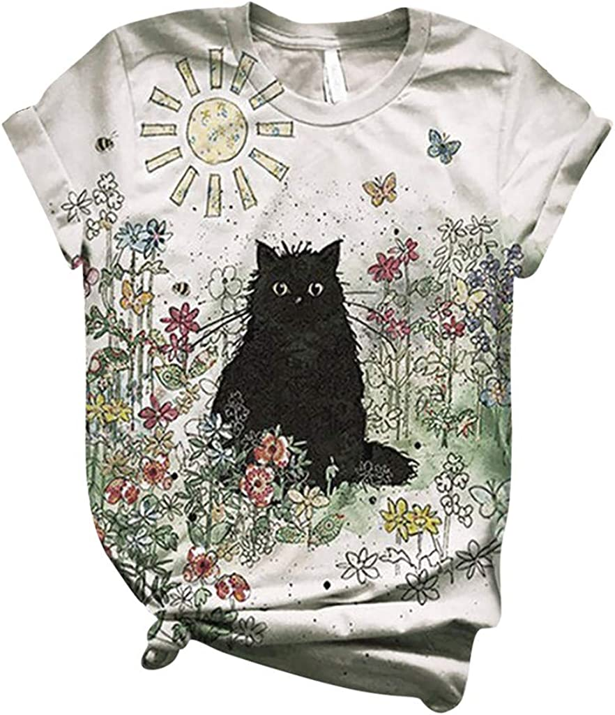 Summer Tops for Women,Fashion Round Neck Cat Animal Printing Casual Short Sleeve T-Shirt Tunic Top Blouses