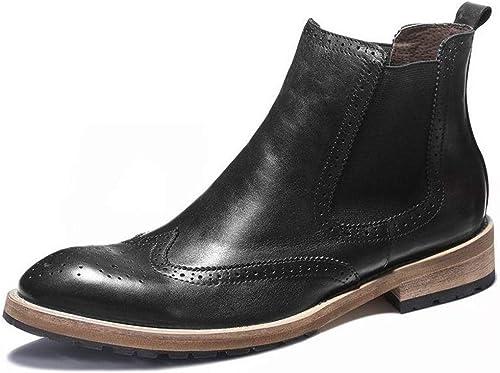 ZHRUI Stiefel Chelsea con Adornos para Hombre Stiefel de Suela Blanda Duradera y Antideslizante de Confort (Farbe   schwarz, tamaño   EU 39)