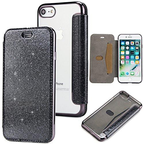 Yobby Glitzer Brieftasche Hülle für iPhone 7,iPhone 8 Handyhülle,Bling Leder Slim Flipcase mit Kartenfach Durchsichtig Weich TPU Überzug Schutzhülle-Schwarz