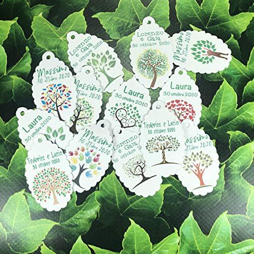 20 cartellini tag bigliettini albero della vita personalizzati con nomi per bomboniere segnaposto cerimonie matrimonio cresima comunione battesimo nozze oro argento
