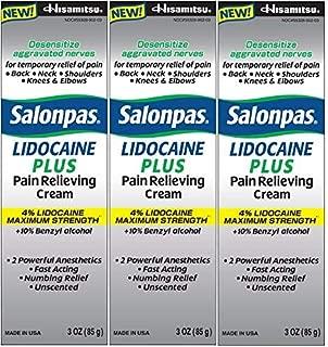 Salonpas LIDOCAINE PLUS 3 oz Pain Relieving Cream! Maximum Strength 4% Lidocaine for Numbing Pain Relief! (3 PACK)