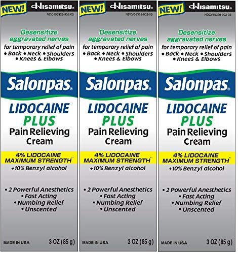 Salonpas LIDOCAINE PLUS 3 oz Pain Relieving Cream! Maximum Strength 4% Lidocaine for Numbing Pain Relief! (3 PACK)