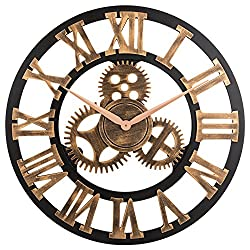 23 inch Noiseless Silent Non-Ticking Wall Clock - Large 3D Retro Rustic Country Decorative Luxury Art Big Wooden Vintage Steampunk Industrial Decor for House Warming Gift,(Roman Numeral,Anti-Bronze)