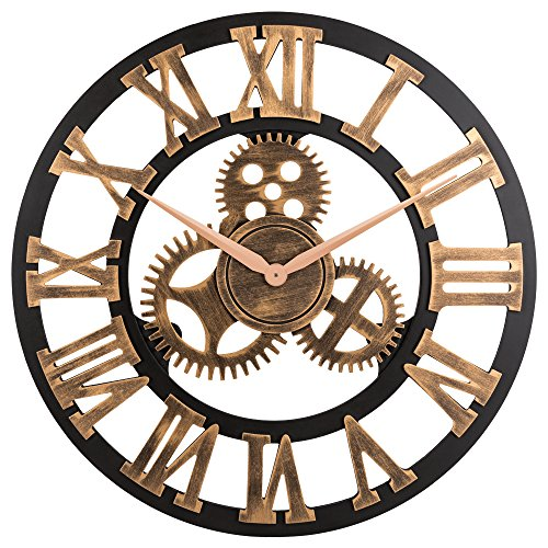 23' inch Noiseless Silent Gear Wall Clock - Large 3D Retro Rustic Country Decorative Luxury Art Big Wooden Vintage Steampunk Industrial decor for House Warming Gift,(Roman Numeral,Anti-Bronze)