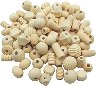 100g Assorted Natural Wooden Bead Wood Spacer Beads Unfinished Wood Loose Beads for Bracelet Necklace Jewelry Making DIY