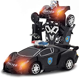 Sameno Toys Transform Car Robot with LED Light and Music, Robot Deformation Car Toy for Children, Remote Control w/ One Button Transformation & Realistic Engine Sounds & 360 Speed Drifting (Black)