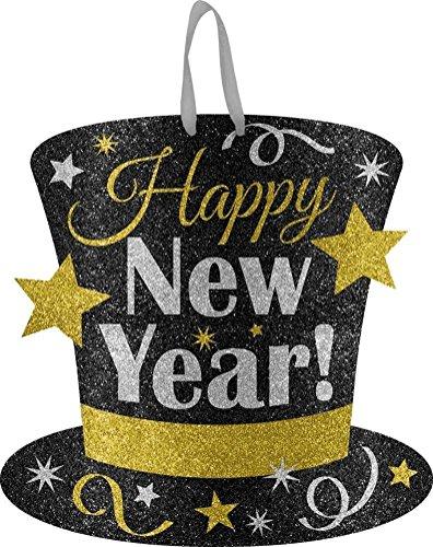 'Happy New Year' Medium Glitter Sign, Black, Silver, Gold, 11.5' x 11.5', 1ct