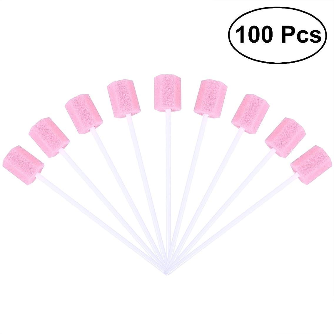 魔法ダイバー恥ずかしさROSENICE 口内スポンジブラシ 使い捨て 口腔ケア 100枚(ピンク)
