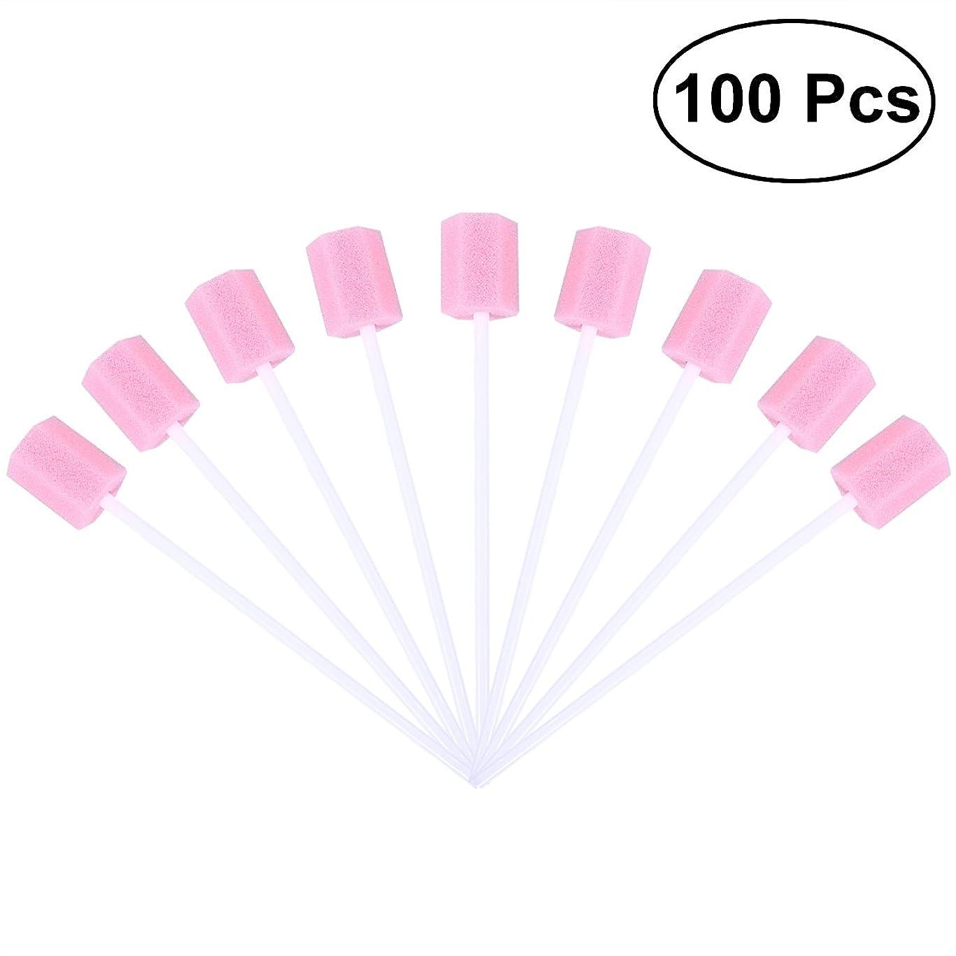 コンテンポラリー騒セントROSENICE 使い捨て口腔ケアスポンジスワブ歯口洗浄スワブ100個(ピンク)