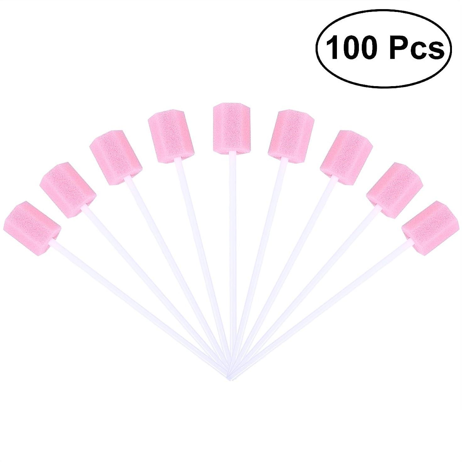 欠席計画徹底的にROSENICE 使い捨て口腔ケアスポンジスワブ歯口洗浄スワブ100個(ピンク)
