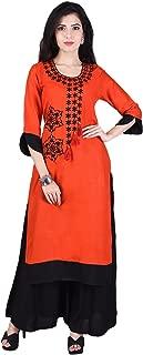 Indiwest Women's Rayon Embroidered Kurta and Palazzo Set