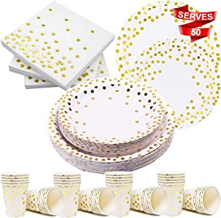 Modda 200Pcs Gold Dot Disposable Paper Plates, Cups, Napkins Set - 50 Dinner and Dessert Plate, 50 Cup and Napkin for Engagement Wedding Birthday Bridal Baby Shower Party, Gold Paper Plates Sets