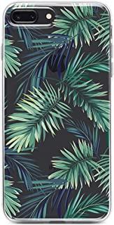 Obbii Clear Case for iPhone 8 Plus /7 Plus /iPhone 6S Plus/6 Plus(5.5 inch)Unique Palm Tree Leaves Design Hard Shell Solid PC Back+ Soft TPU Bumper Protective Case Compatible with iPhone 8/7/6S/6 Plus