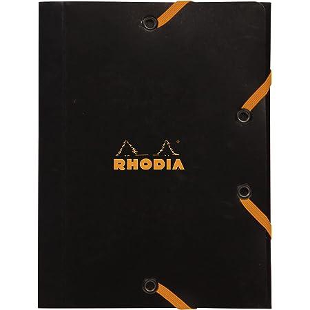RHODIA 12169C - Chemise à Élastiques - Pochette Cartonnée 3 Rabats Noire - 12x16 cm - Carte Enduite Résistante - Rangement Bureau et Classement de Documents Format A6 - RHODIA Filing