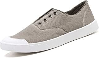 Shangruiqi Fashion Sneakers for Men Casual Skater Sports Shoes Low Top Elastic Canvas Stitch Walking Shoes Round Toe Comfortable Anti-Wear (Color : Beige, Size : 7 UK)