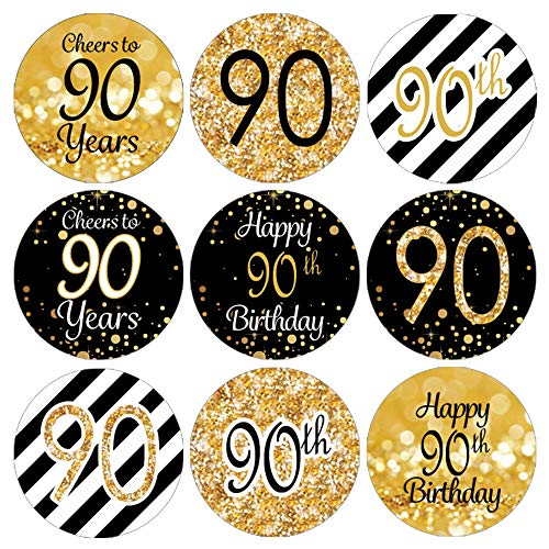 DISTINCTIVS 90th Birthday Party Favor Stickers - Gold and Black (Set of 324)