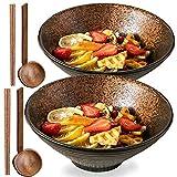 2 set (6 pezzi) ciotole in porcellana, insalatiere da cucina domestica, ciotole per zuppa di ramen giapponesi, ciotole per miscelare Set di stoviglie (con bacchette e cucchiaio) Giallo giada