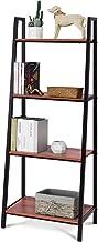 Tangkula 4-Tier Ladder Shelf, Ladder Bookcase, Wooden Bookshelf, Display Shelves, Plant Flower Stand Shelf (1)