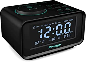 REACHER Digital Alarm Clock Radio with Manual Tuning, All Functions Battery Backup, 0-100% Dimmer, 2 USB Charging Ports, T...