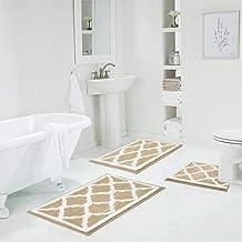 HEBE Non-Slip Bathroom Rug Mat Set 3 Pieces Shag Microfiber Shower Bath Rug Absorbent Bath Mat for Bathroom Machine Washab...
