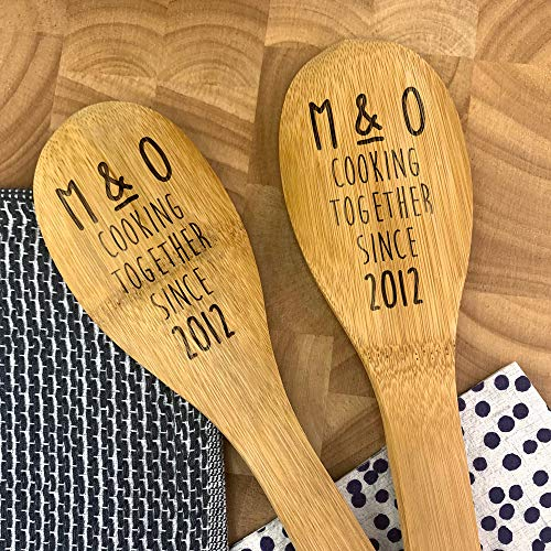 Set of 2 Personalised Cooking Together Since Wooden Spoons, Engraved Mixing Spoon, Funny Wooden Spoon, Cooking Gifts for Her, Gift for Him