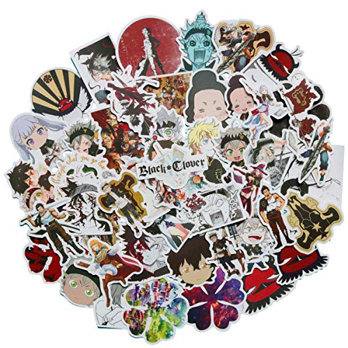 50PCS Black Clover Japanese Anime Stickers Lovely Boy and Girl Sticker Laptop Computer Bedroom Wardrobe Car Skateboard Motorcycle Bicycle Mobile Phone Luggage Guitar DIY Decal (Black Clover)