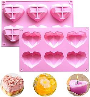 WELLXUNK Moules Silicone Forme Coeur, 2 Pcs 6 Cavité Moule De Gâteau Mousse De Coeur Forme, Diamant Moule A Gâteau, Pour L...