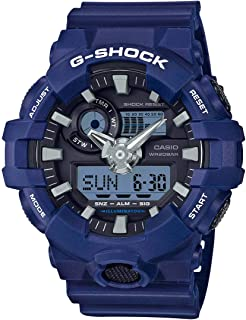 Casio G-Shock Watch For Men Blue Ana-Digi Dial Resin Band - Ga-700-2A, Analog-Digital Display