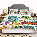 LENYOVO Juego de Funda nordica,Ropa de Cama,Hawaiian Surfer On Wavy Deep Sea Retro Style Palm Trees Flowers Surf Boards Print,Microfibra,Edredon 140x200cm con 2 Fundas de Almohada 50x80cm