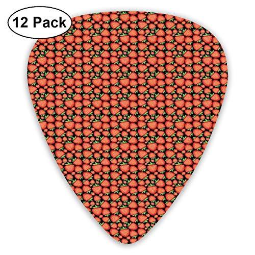 Gitaar Picks12pcs Plectrum (0.46mm-0.96mm), Tropisch Fruit Patroon Met Levendige Rijpe Bessen Gezond Zoete Zomer Vers Voedsel, Voor Uw Gitaar of Ukulele