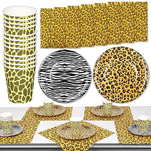PROLOSO 130 Pcs Jungle Safari Party Paper Plates Napkins Cups Animal Print Party Supplies for Birthday Baby Shower Tableware Kit for 30 Guests
