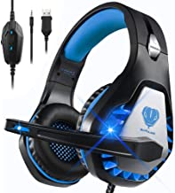 Best DIWUER Stereo Gaming Headset for Nintendo Switch, PS4, Xbox One with Noise Cancelling Mic, Soft Earmuffs Surround Sound Over Ear Headphones with LED Light for PC, Mac, Laptop (Blue) Review