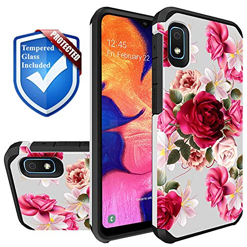 Storm Buy Phone Case Compatible for [ Samsung Galaxy A10e Shockproof 3D Textured Vibrant Rubber Cover + [ Tempered Glass Screen Protector ] (Red Floral+Glass)