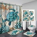 Fashion_Man 4PCS Underwater World Sea Turtle Shower Curtain Set Polyester Waterproof Bathroom Shower Curtains + Toilet Mat Set Bath Rugs Toilet Lid Cover Contour Carpet, 72'x72', Turtle (4pcs)