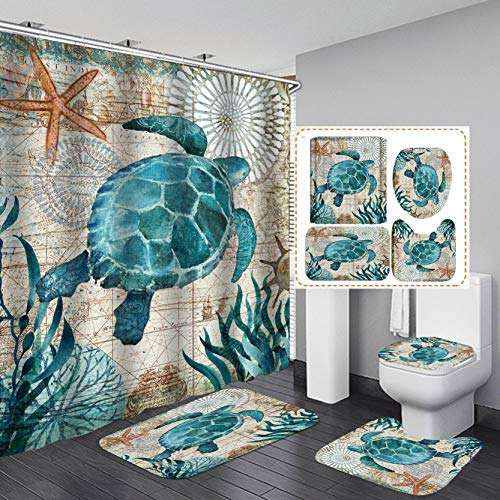 "Fashion_Man 4PCS Underwater World Sea Turtle Shower Curtain Set Polyester Waterproof Bathroom Shower Curtains + Toilet Mat Set Bath Rugs Toilet Lid Cover Contour Carpet, 72""x72"", Turtle (4pcs)"