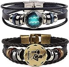 Dcfywl731 Retro 2pcs 12 Zodiac Constellation Beaded Hand Woven Leather Bracelet Braided Punk Chain Cuff