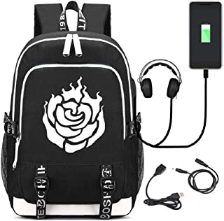 YOYOSHome Anime RWBY Ruby Rose Cosplay Daypack Bookbag Backpack School Bag with USB Charging Port (Black)