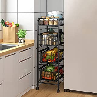 Étagère de rangement Rack légégétale à 5 niveaux de rangement, Type de tiroir Micro-ondes Design Panier Design Panier coul...
