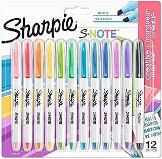 Sharpie S-Note Lot de 12 marqueurs créatifs à pointe biseautée Couleurs assorties