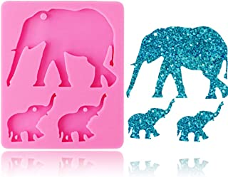 Cute Elephant Key Chain Silicone Mold for DIY Jelly Shots Desserts Pudding Candy Crystal Gum Paste Handmade Ice Cream Ice Cube Chocolate Soap Mould Cupcake Cake Topper Decoration Fondant Mold