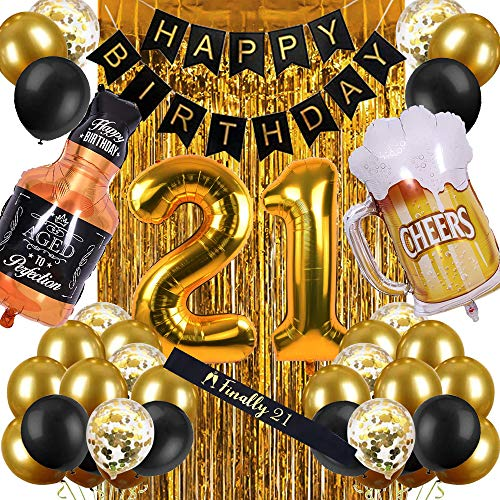 21st Birthday Decorations for Women Men, Happy Birthday Decorations for Boys Girls 21st Birthday Party - 21st Birthday Decorations Black and Gold for Her Him 21 Birthday Party Supplies