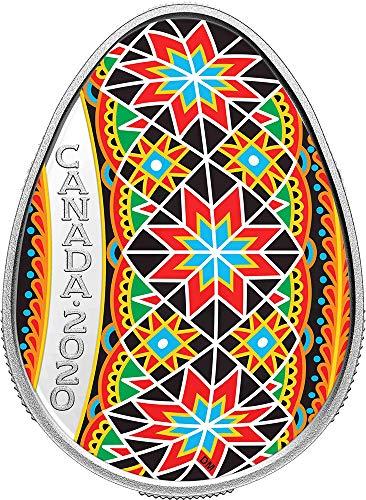 Power Coin Traditional PYSANKA Pascua Forma Huevo Arte Popular 1 Oz Moneda Plata 20$ Canada 2020