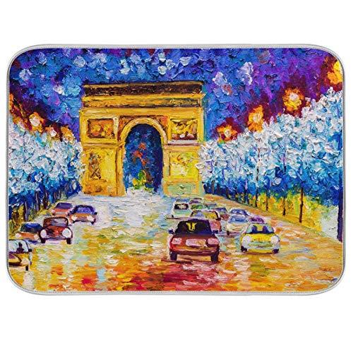 Lihuaval France Paris Arc De Triomphe - Alfombrilla de secado para platos, absorbente de calor,...