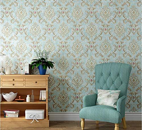 Papel pintado 3D Flores europeas no tejido Papel pintado Azul claro para decoración de pared de dormitorio y hogar, papel pintado minimalista de lujo 0.53mx9.5m
