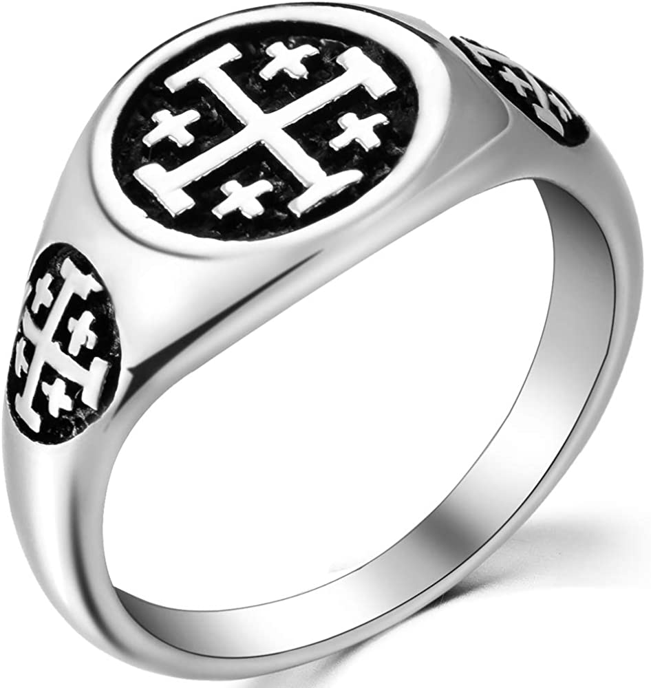 Jude Jewelers Stainless Steel Jerusalem Cross Signet Style Pinky Religious Ring