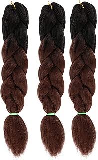 Ombre Jumbo Braid Hair Extensions - 3pcs/lot 2 Tone 24 Inches Multi Color Natural Synthetic Heat Resitant High Temperature Fiber DIY Braids Twist Crochet Box Braiding Hair Extension (Black & Brown)