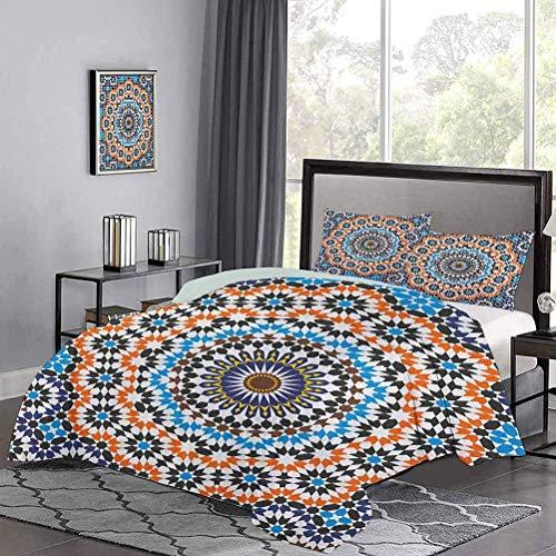 Juego de ropa de cama de, azulejos de cerámica marroquí, inspirados en árabes florales, estilo antiguo, estampado de mosaico cultural, juego de funda nórdica liviana para habitación de huéspedes, mult