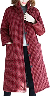 AOJIAN Women Jacket Long Sleeve Outerwear Lapel Quilted Plaid Buttons Pockets Coat